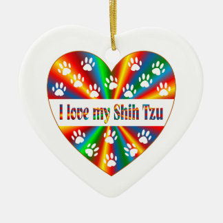 Shih Tzu Love Ceramic Ornament