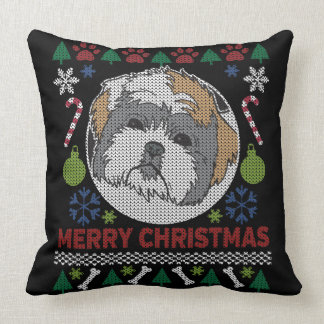Shih Tzu Merry Christmas Ugly Sweater Design Throw Pillow
