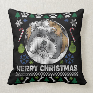 Shih Tzu Merry Christmas Ugly Sweater Throw Pillow