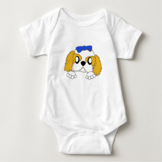 shih tzu peeking gold and white baby bodysuit