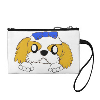 shih tzu peeking gold and white coin purse