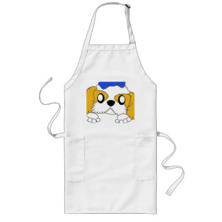 shih tzu peeking gold and white long apron