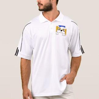 shih tzu peeking gold and white polo shirt