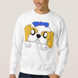 shih tzu peeking gold and white sweatshirt