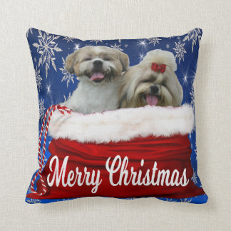 Shih tzu Pillow Christmas