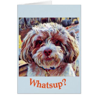 Shih Tzu Poo Dog Thinking of You Love Hello BLANK Card