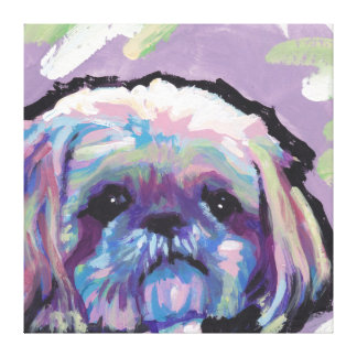 Shih Tzu Pop Dog Art on Wrapped Canvas