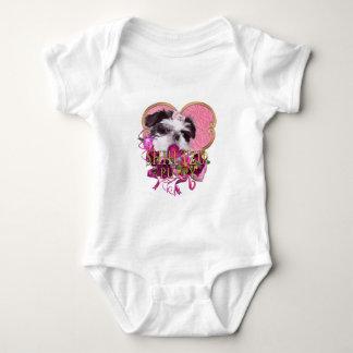 Shih Tzu Puppy In Pinks & Purples Baby Bodysuit