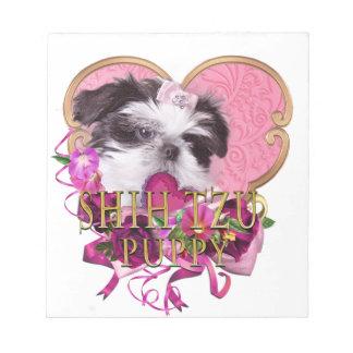 Shih Tzu Puppy In Pinks & Purples Notepad