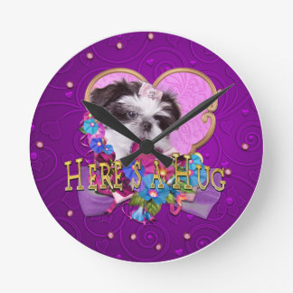 Shih  Tzu Puppy in Purple Heres a Hug Round Clock