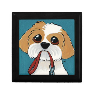 Shih Tzu Puppy on Blue Dog Illustration Jewelry Box