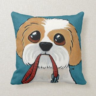 Shih Tzu Puppy on Blue Dog Illustration Throw Pillow