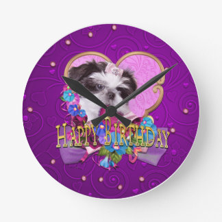 Shih Tzu Puppy Purple Happy Birthday Round Clock