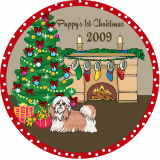 Shih Tzu Puppy's First Christmas Ornament 2009 Photo Sculpture Ornament