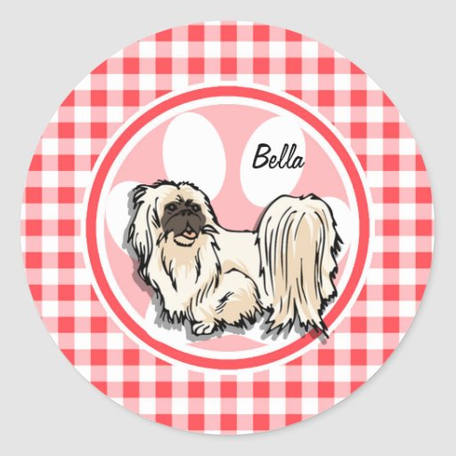 Shih Tzu; Red and White Gingham Sticker