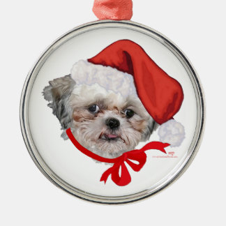 Shih Tzu Rescue Dog Happy Holidays Metal Ornament