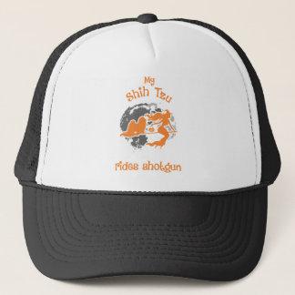 Shih Tzu Rides Shotgun Halloween Costume Trucker Hat