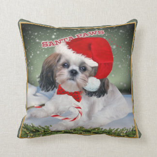 Shih Tzu Santa Paws Christmas Pillows
