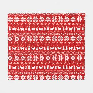 Shih Tzu Silhouettes Christmas Pattern Red Fleece Blanket