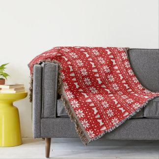 Shih Tzu Silhouettes Christmas Pattern Red Throw Blanket