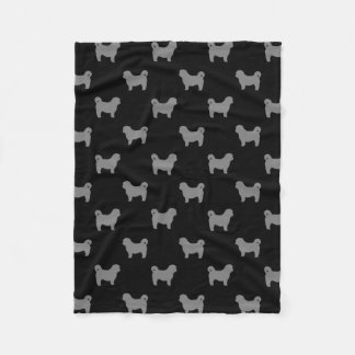 Shih Tzu Silhouettes Pattern Fleece Blanket