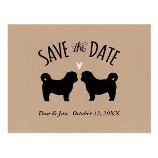 Shih Tzu Silhouettes Wedding Save the Date Postcard