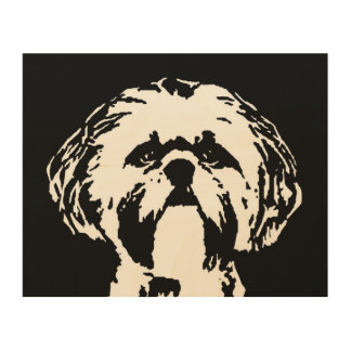 "Shih Tzu Stencil Wood 10""x8"" Wall Art"