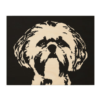 "Shih Tzu Stencil Wood 14""x11"" Wall Art"