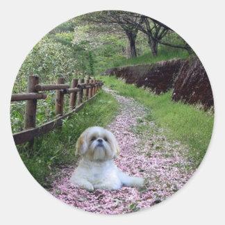 Shih Tzu Sticker Purple Flowers