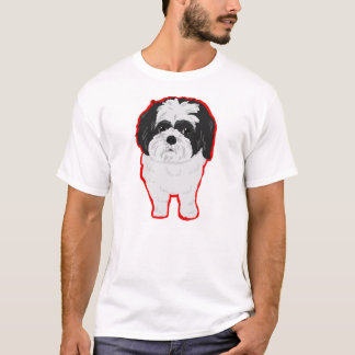 Shih-Tzu Tee Front and Butt, Outlined
