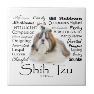 Shih Tzu Traits Tile Coaster