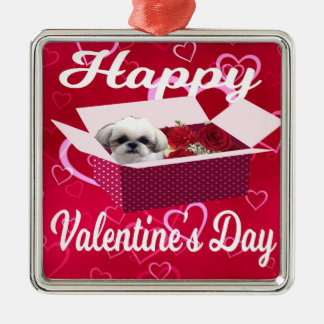 Shih tzu Valentine's Day Ornament, Dog Metal Ornament