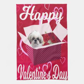 Shih tzu Valentine's Towel, Dog Kitchen Towel