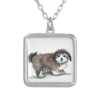 Shihtzu Puppy Dog, Pet Silver Plated Necklace