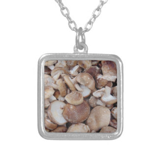 Shiitake Mushrooms Silver Plated Necklace
