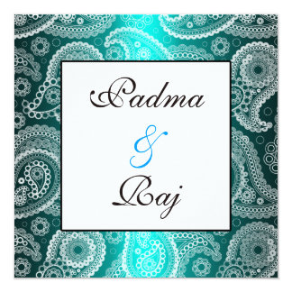 Shimmer Aqua and White Paisley Wedding Invitation