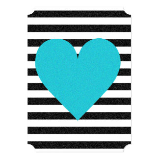 Shimmer Black And White Stripes Party Invitation