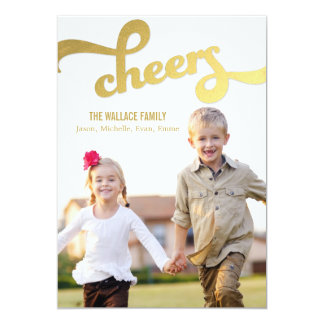 """Shimmer Cheers Holiday Photo Cards 5"""" X 7"""" Invitation Card"""
