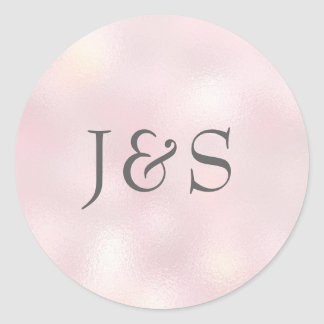 Shimmer Pink wedding personalized initial stickers