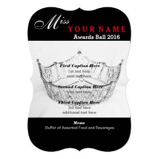 "Shimmer Silver Crown Awards Ball Program Card 5"" X 7"" Invitation Card"
