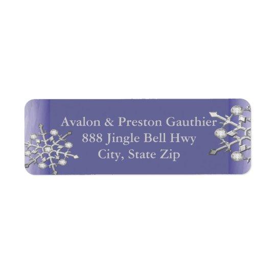 Shimmer Silver Snowflake Purple Return Address Label
