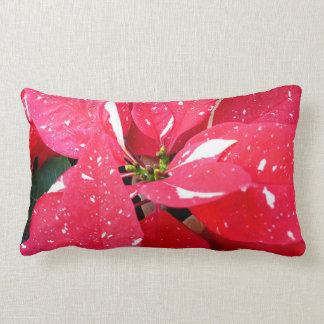 Shimmer Star Surprise Poinsettia Holiday Floral Lumbar Pillow
