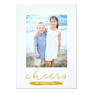 Shimmering Cheers Faux Gold Foil Holiday Card