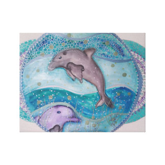 Shimmering dolphins canvas print