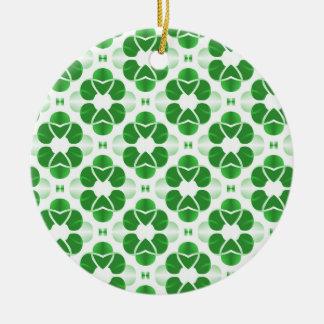 Shimmering Glam Christmas Ornament, Green Round Ceramic Ornament