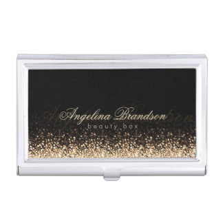 Shimmering Gold Beauty Expert Damask Black Holder Case For Business Cards