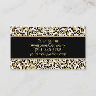 Leopard print business cards profile cards zazzle ca shimmering gold leopard print business cards reheart Image collections