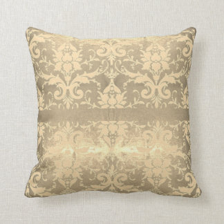Shimmering Gold Vintage Scroll Throw Pillow
