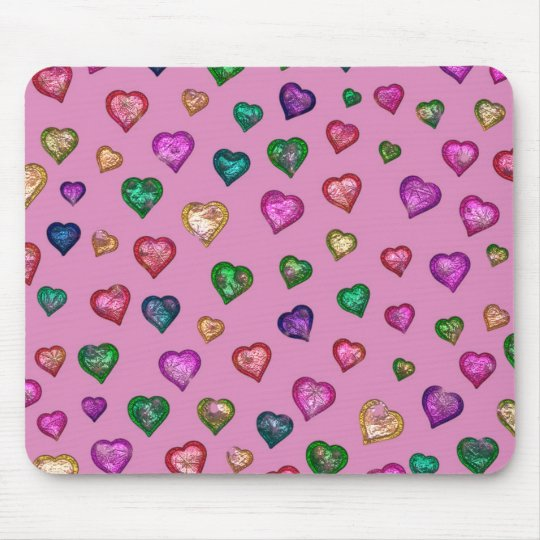 Shimmering hearts mouse pad