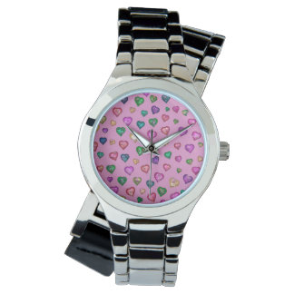 Shimmering hearts wrist watches